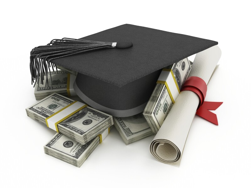 mortar board, money, diploma