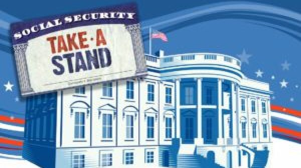 AARP Take A Stand logo with White House in background