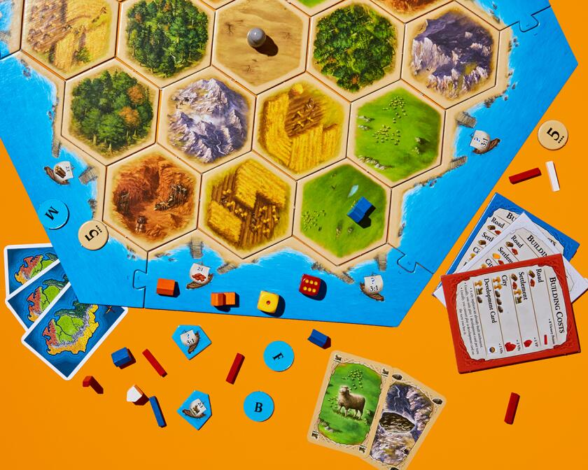 Game pieces from Catan.