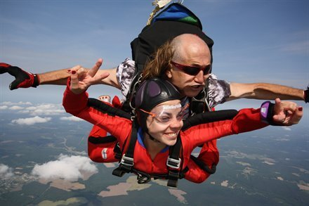 Instructor and Angelita skydiving