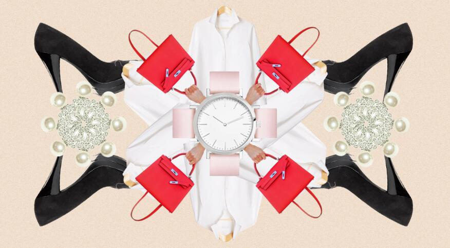 Collage of classic fashion pieces, including a watch, white shirts, handbags, pearl earrings and black high heels