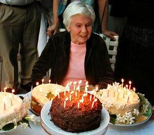 a woman celebrates her 90th birthday