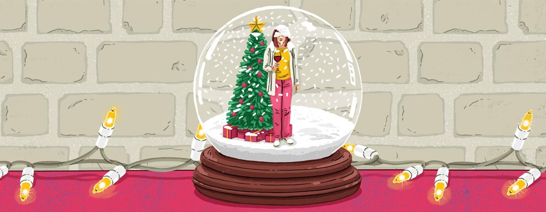 aarp, girlfriend, Christmas, illustration