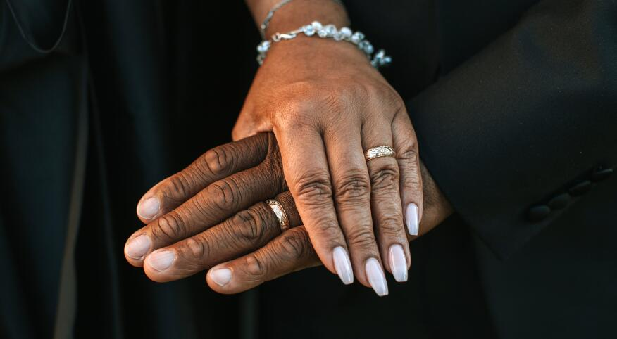 Wedding Couple's Hands With Rings