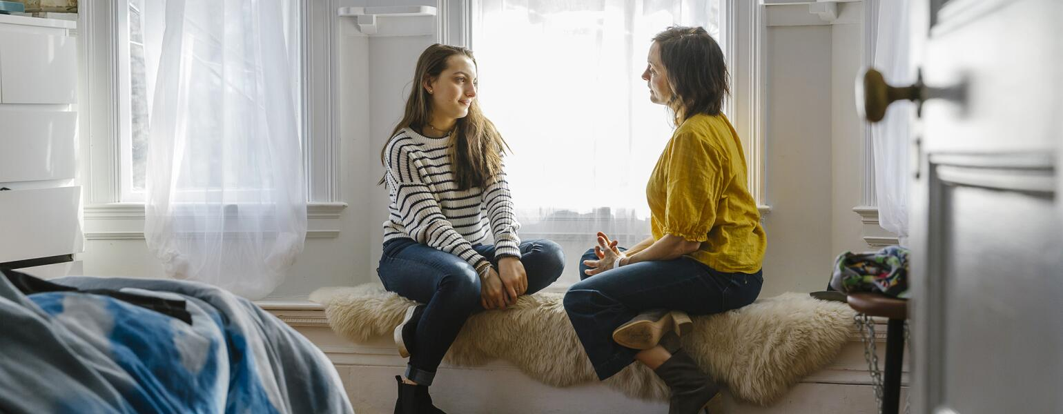 Mother And Daughter Having Private Chat At Home