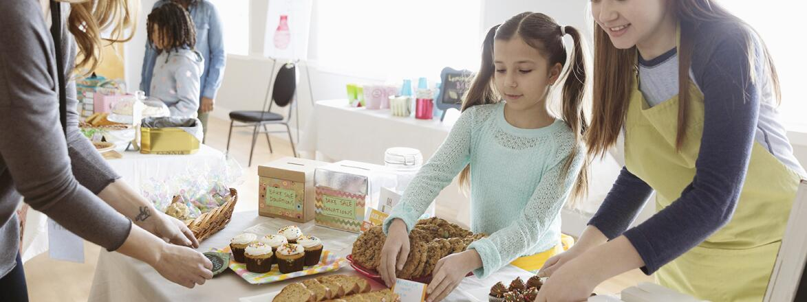 AARP, The Girlfriend, Volunteer, school, bake sale