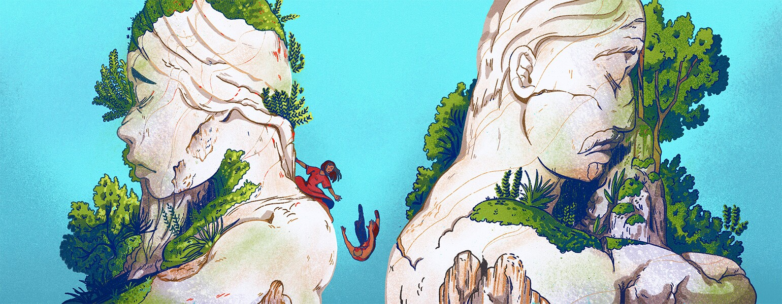 illustration of lady trying to reach out to a man who slipped off a mountain