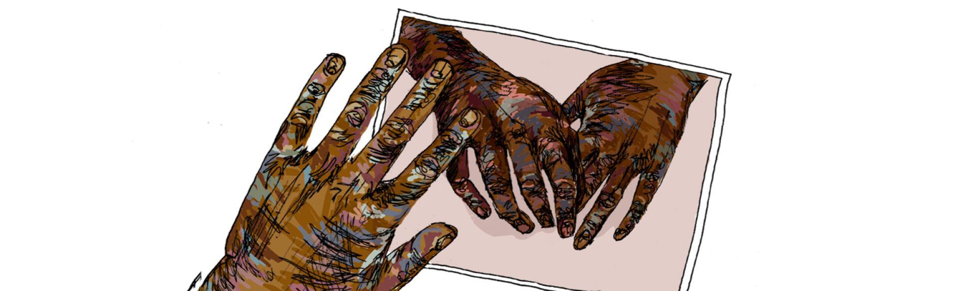 Hands, grandma, aarp, sisters, illustration