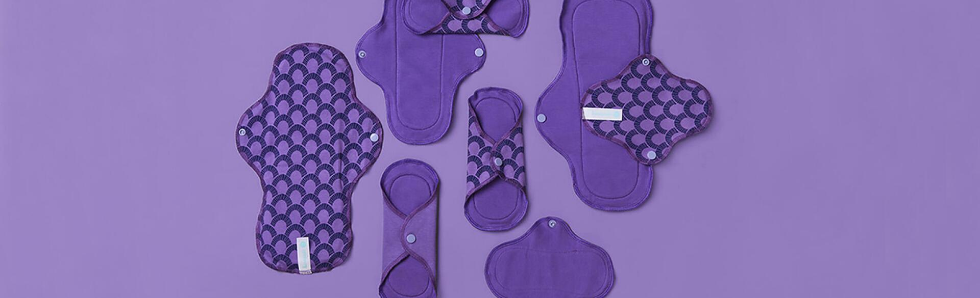 array of purple pads on purple background