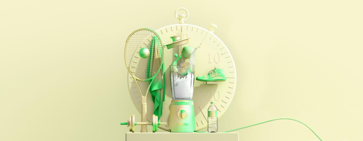 large stopwatch with healthy things in front of it like a blender tennis racket sneakers and water