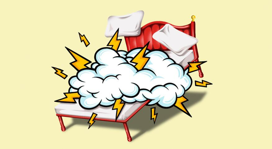 bed illustration, sex, cloud, lightening bolts
