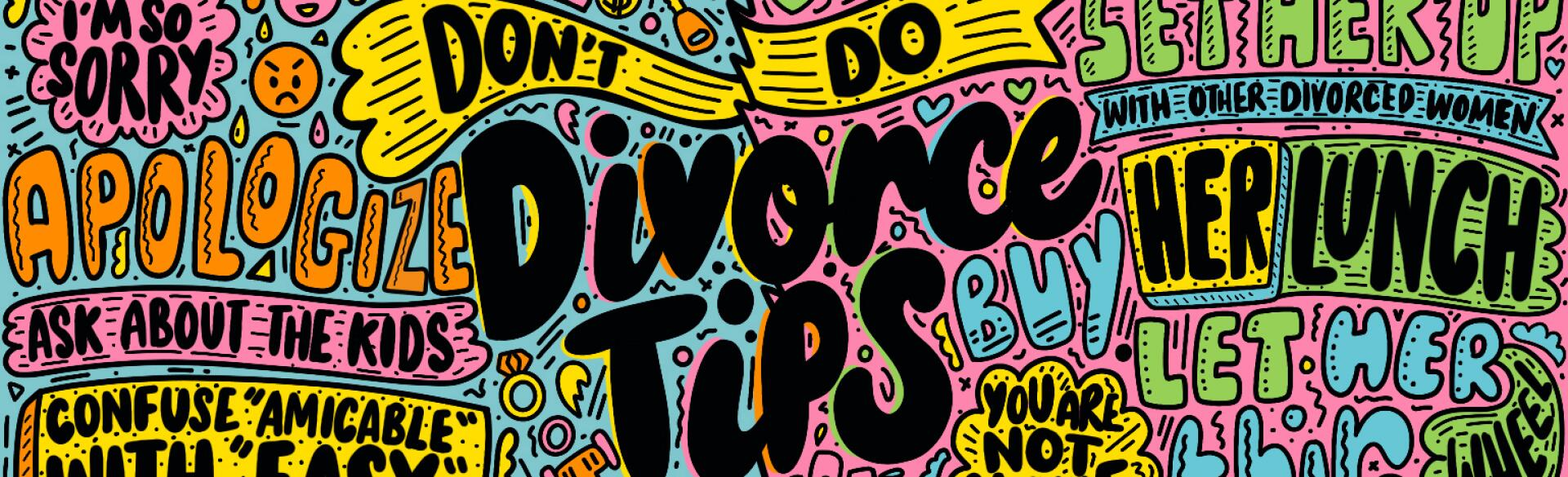 illustration of words for divorce tips