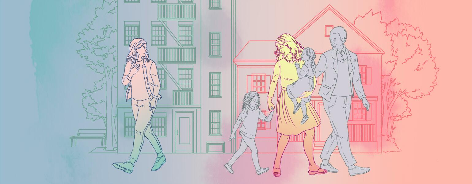 Illustration of woman looking at her best friend with her family walking away.