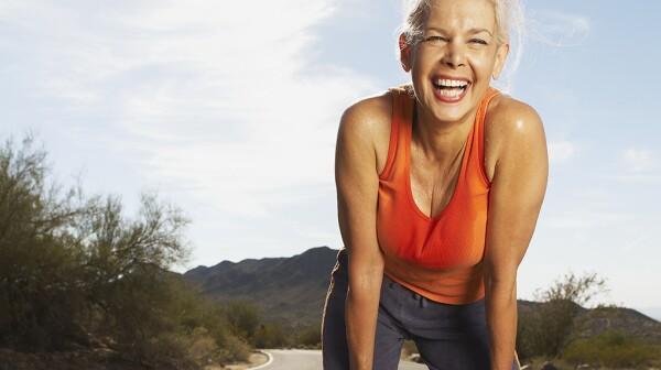 Woman sweating workout