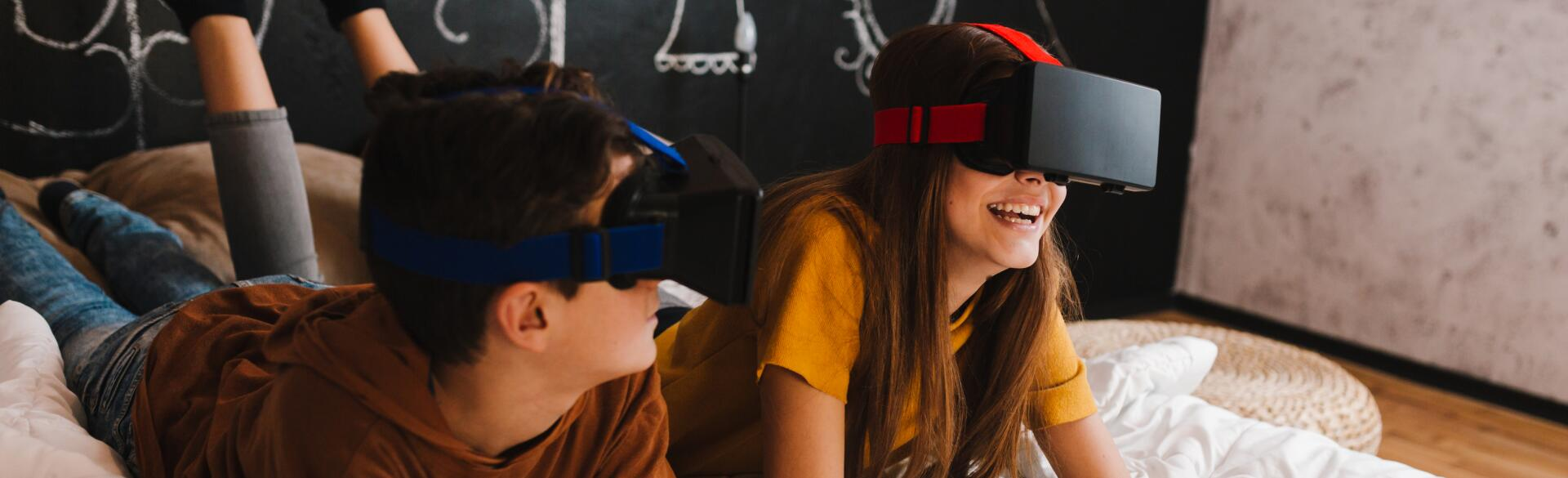 Teenagers With Vr Glasses Having Fun