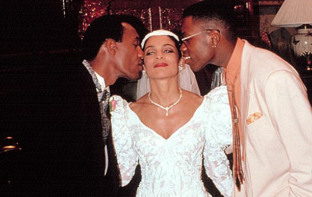 "A DIFFERENT WORLD, Joe Morton, Jasmine Guy, Kadeem Hardison, in the episode, "" Save The Best For Las"