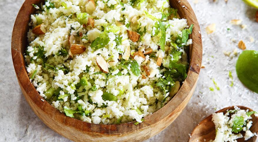 Bowl of Cauliflower rice with coconut lime
