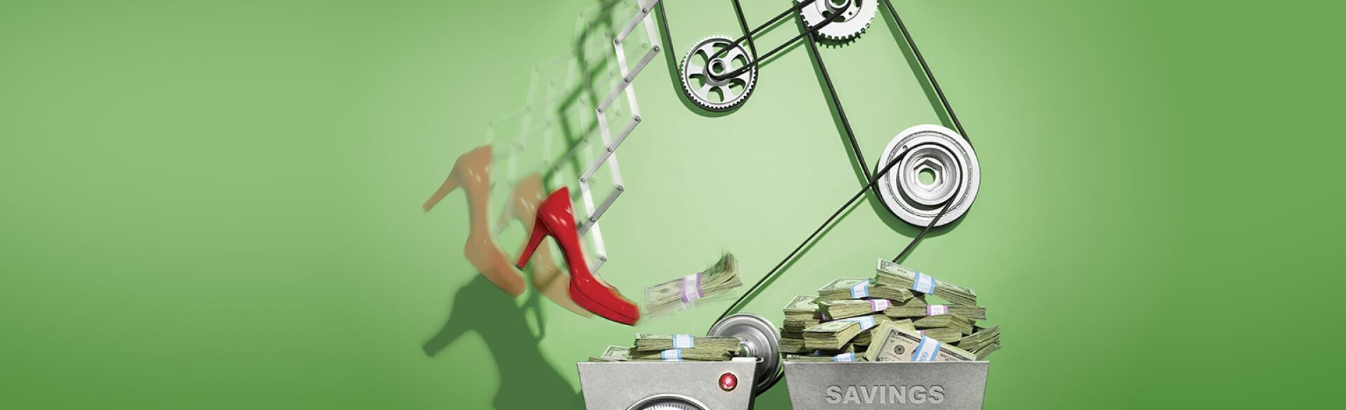 money being kicked into savings pile
