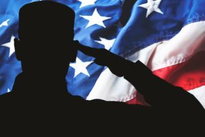 Saluting army soldier on american flag background