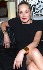 Sharon Stone in black dress