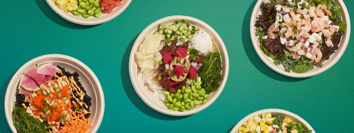 image of various poke bowls on green background