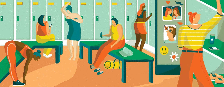 Illustration of women in a high school locker room