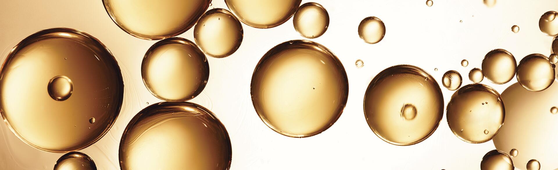 close up essential oil bubbles