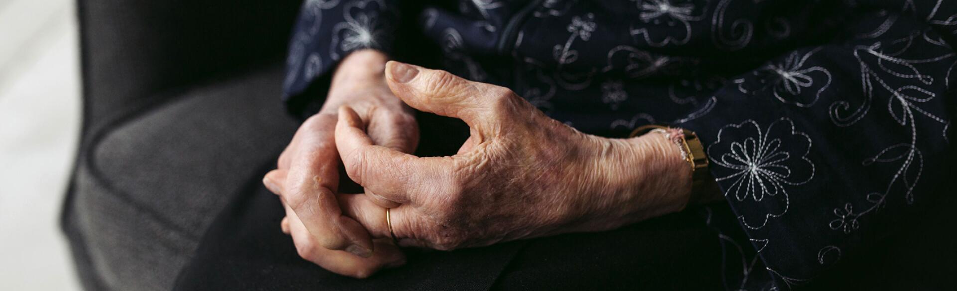 closeup of elderly woman's hands