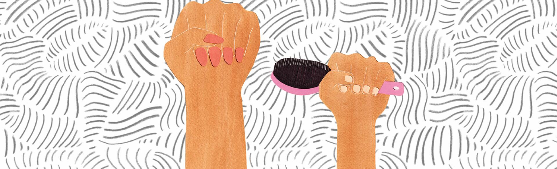 illustration of adult woman hand making a fist and young girl hand holding a pink hairbrush