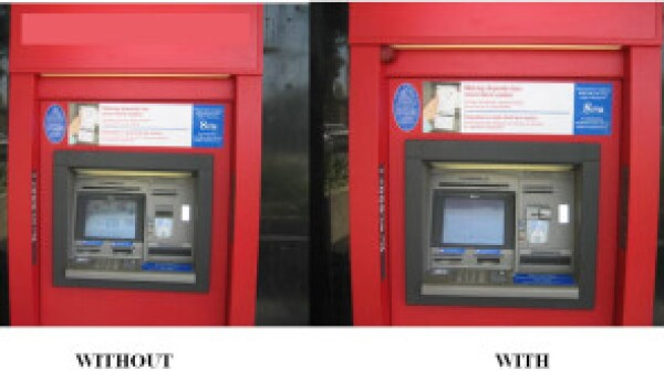 ATM with and without card skimmer