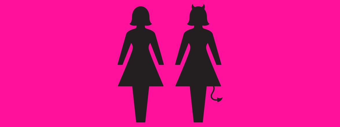 An illustration of two female silhouettes. One silhouette is normal, while the other has Devil horns and a tail, indicating a toxic friendship.