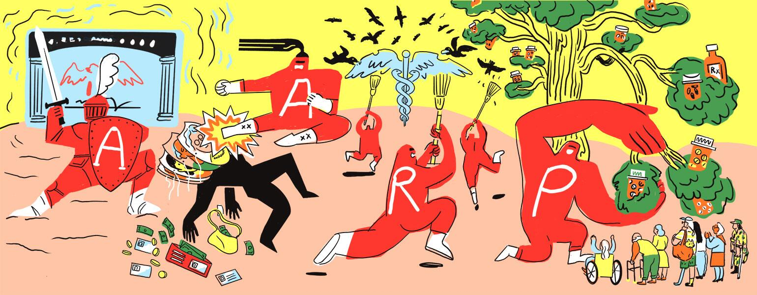 illustration of aarp characters fighting