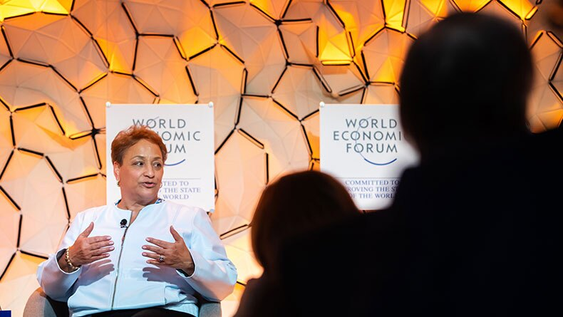 Jo Ann Jenkins addresses attendees at WEF in Davos