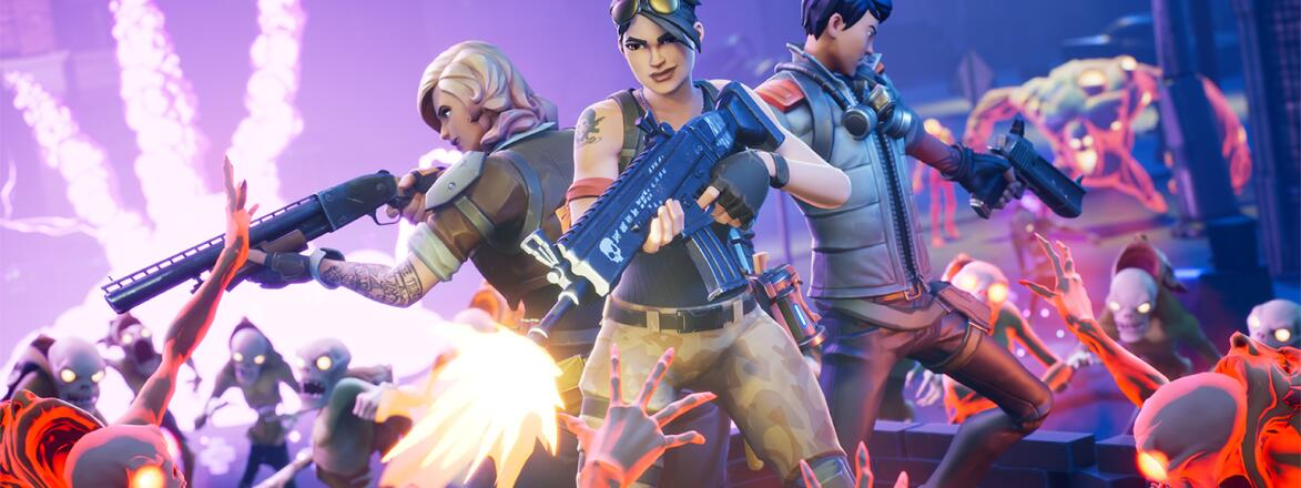 A promotional image of various Fortnite characters.