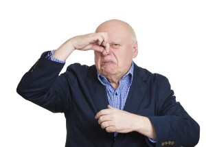 Closeup portrait, senior mature man, disgust face, pinch nose, looks funny, something stinks, very bad smell, isolated white background. Negative emotion, facial expression, feeling reaction