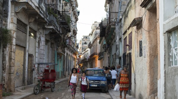 Old run down street in Habana Vieja in Havana, Cuba
