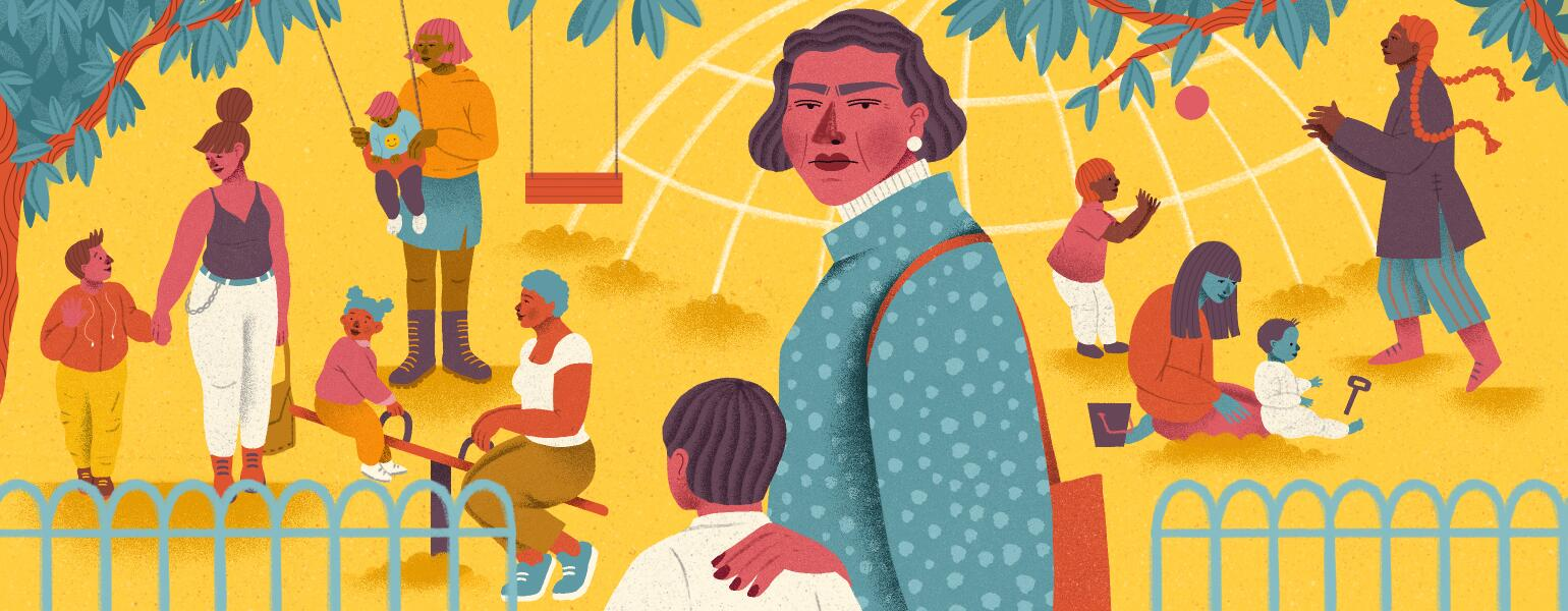illustration of older mother at a playground with her child and other children and adults