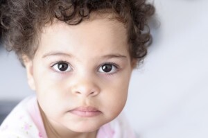 Toddler girl with brown eyes and hair