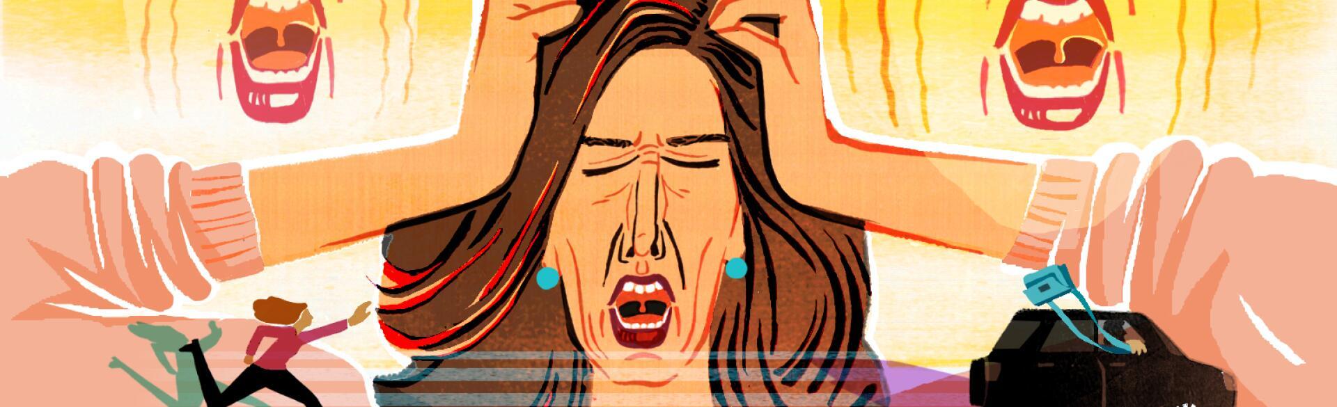 illustration of woman having nervous breakdown