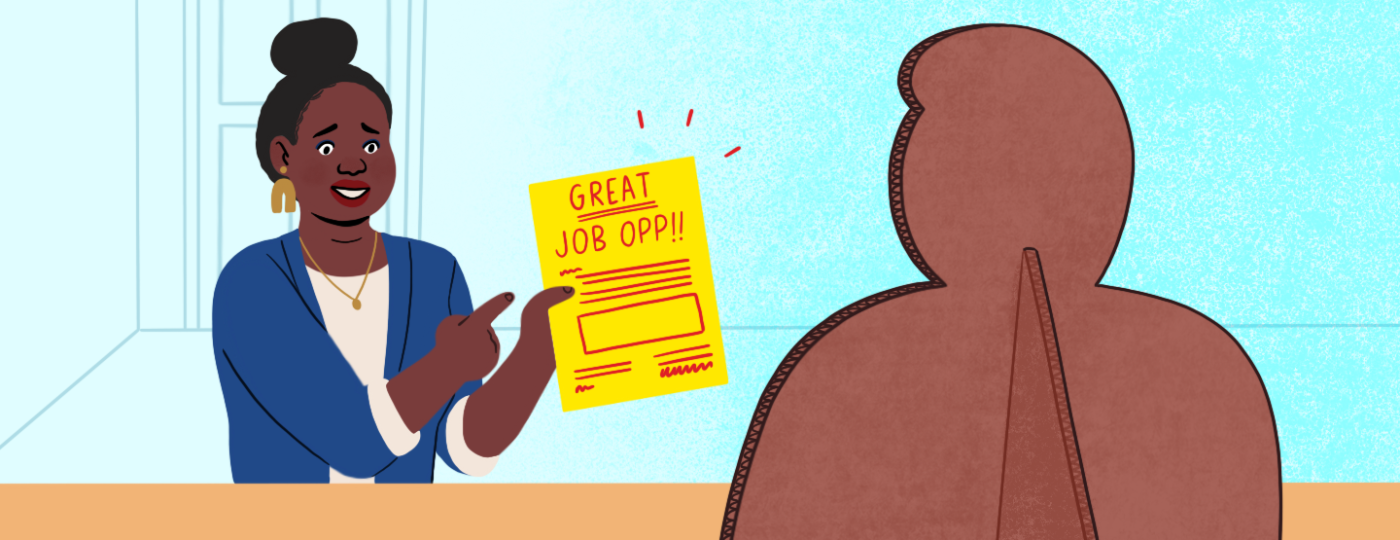 illustration_of_woman_with_hiring_ad_talking_to_cardboard_employer_by_nicole_miles_1440x560.png