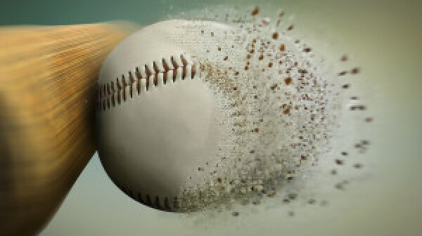 baseball hit with the ball disintegrating