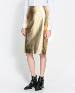 Zara Metallic Leather Skirt