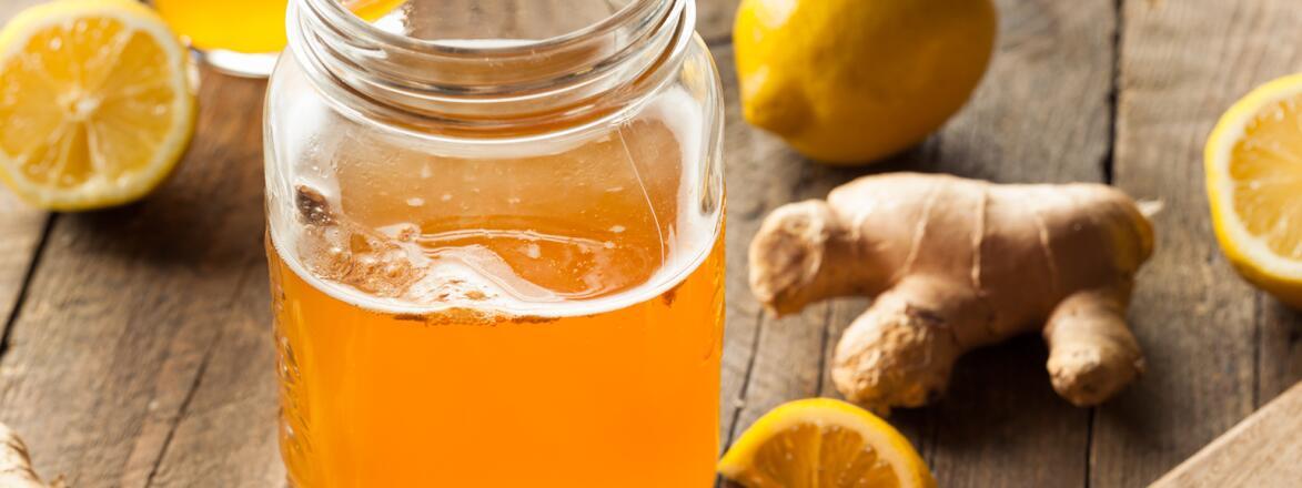 Kombucha in a mason jar surrounded by ginger lemon and oranges