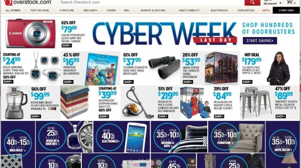 A screen shot of the popular website: Overstock.com
