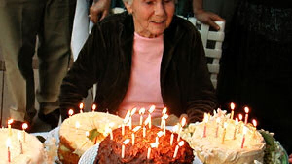a woman celebrates her 90th birthday