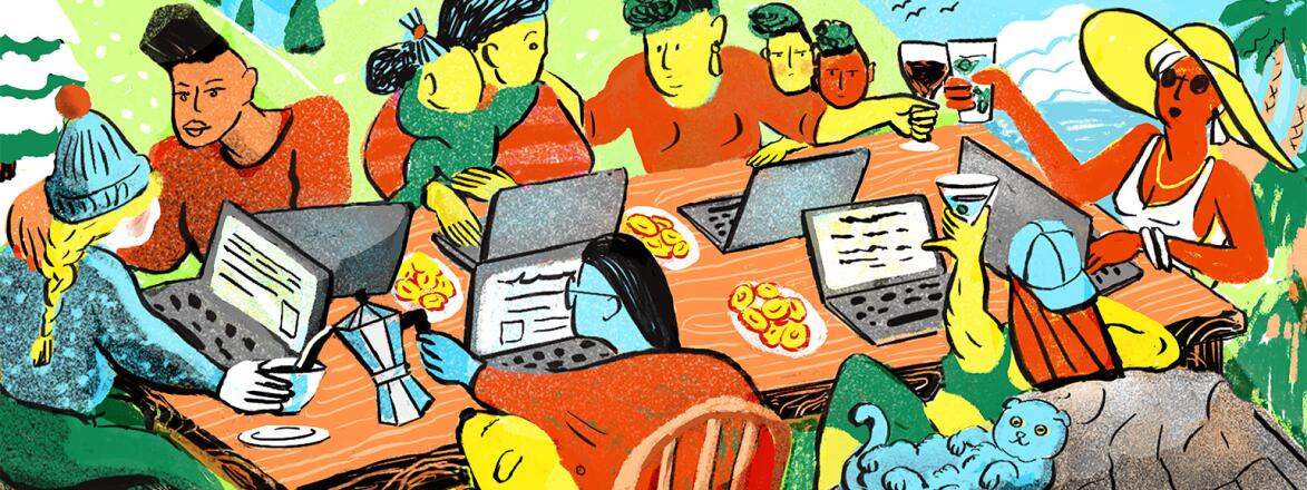 illustration of women sitting around a table on computers making friends virtually