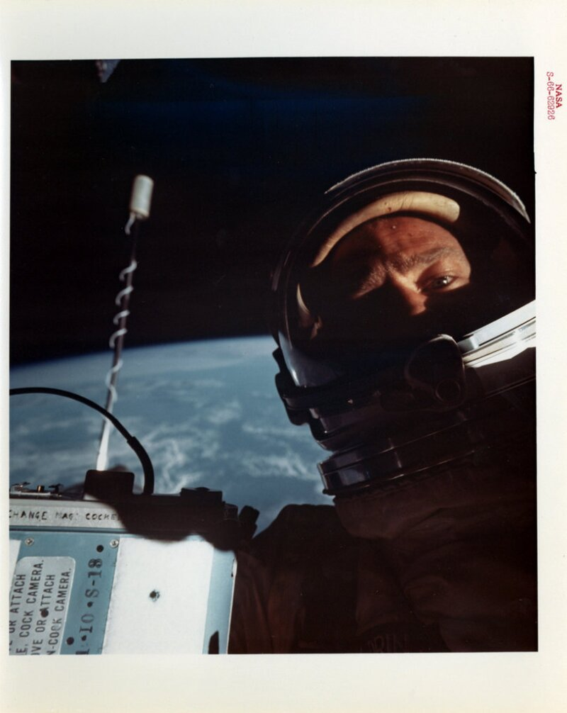 Buzz Aldrin first space selfie