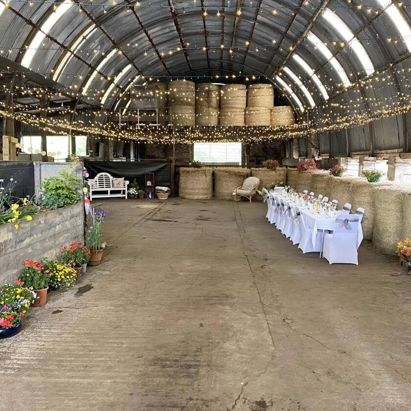 cleaned up cow barn ready for a wedding reception