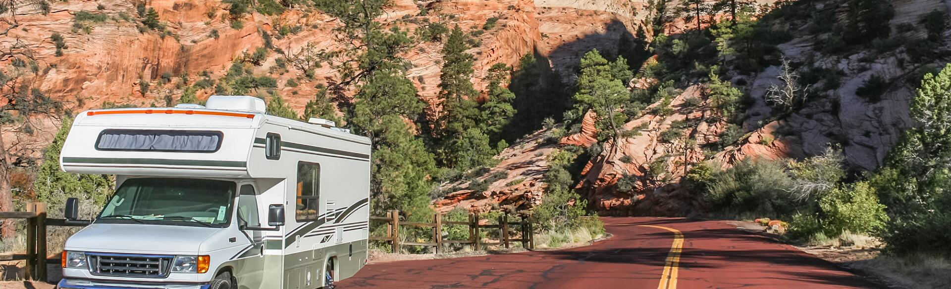 Motorhome along a road through Zion National Park, USA