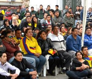 Ecuadoreans watch soccer